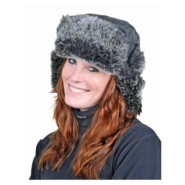 Bonnet hiver Alaska avec pelage synthétique Noir
